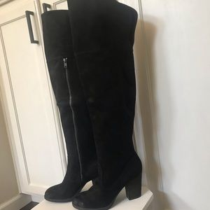 Sexy Black Faux Suede Over The Knee Boots